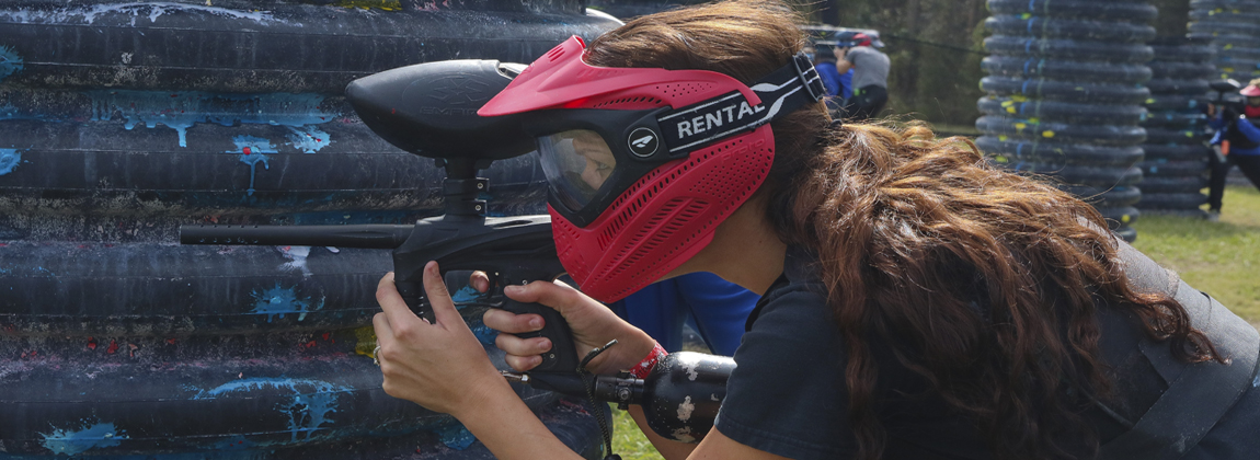 A Girl Playing Paintball At Extreme Rage Paintball Park of Fort Myers